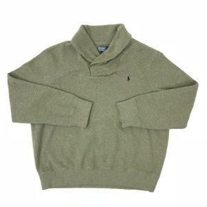 Polo Ralph Lauren Mens Olive Shawl Collar Sweater